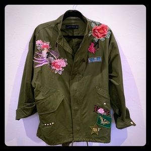 Zara Rose Peacock Patch Parka Utility Army Jacket